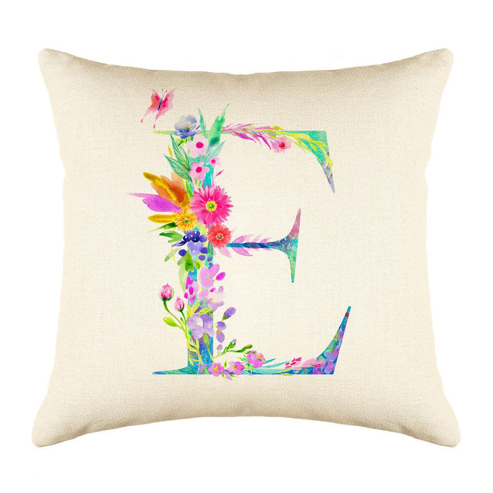 Floral Watercolor Monogram Letter E Throw Pillow Cover