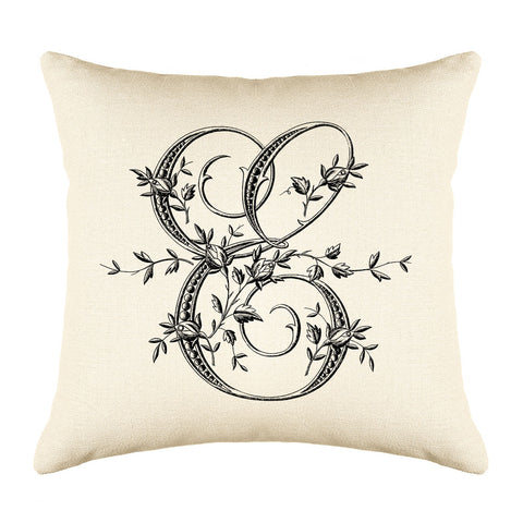Vintage French Monogram Letter E Throw Pillow Cover