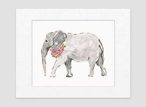 Ella Elephant Art Print - Animal Illustrations Wall Art Collection-Matted-Di Lewis