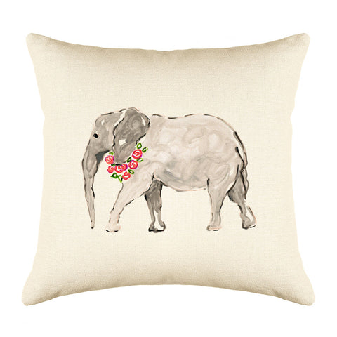 Ella Elephant Throw Pillow Cover - Animal Illustrations Throw Pillow Cover Collection