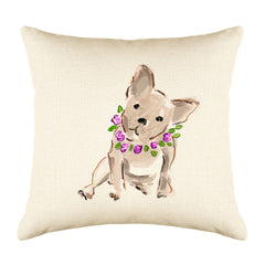 Bertie Bulldog Throw Pillow Cover - Dog Illustration Throw Pillow Cover Collection