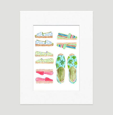 "Watercolor Fashion Illustration ""Espadrilles"""