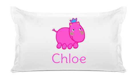 Pink Hippo - Personalized Kids Pillowcase Collection