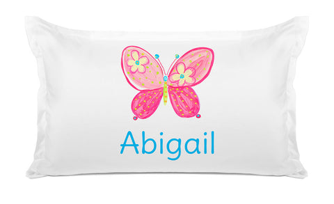Pink Butterfly  - Personalized Kids Pillowcase Collection