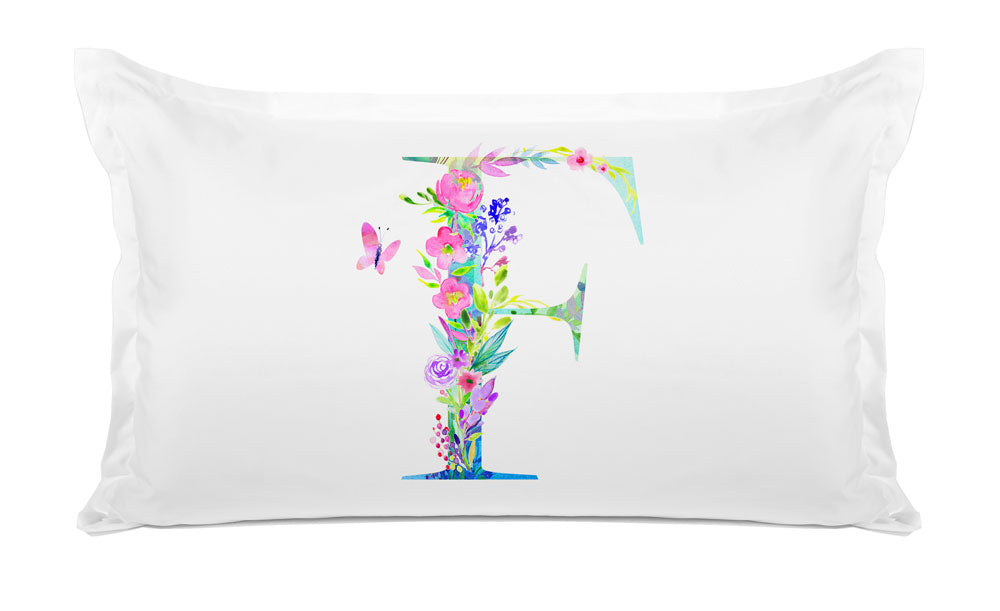 Floral Watercolor Monogram Letter F Pillowcase