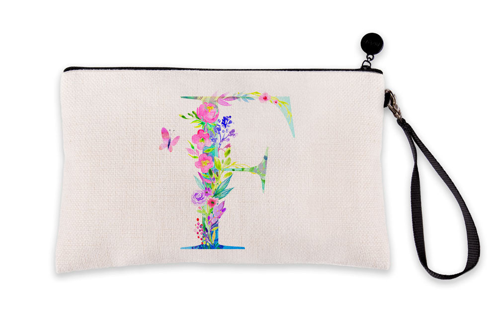 Floral Watercolor Monogram Letter F Makeup Bag