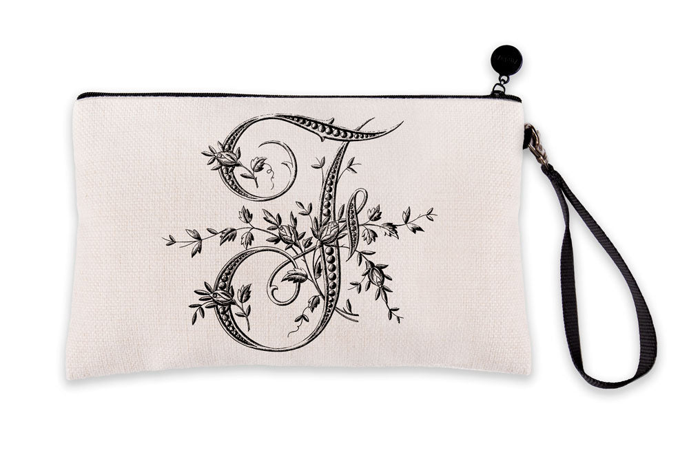Vintage French Monogram Letter F Makeup Bag