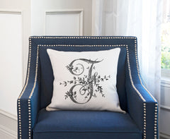 Vintage French Monogram Letter F Throw Pillow Cover
