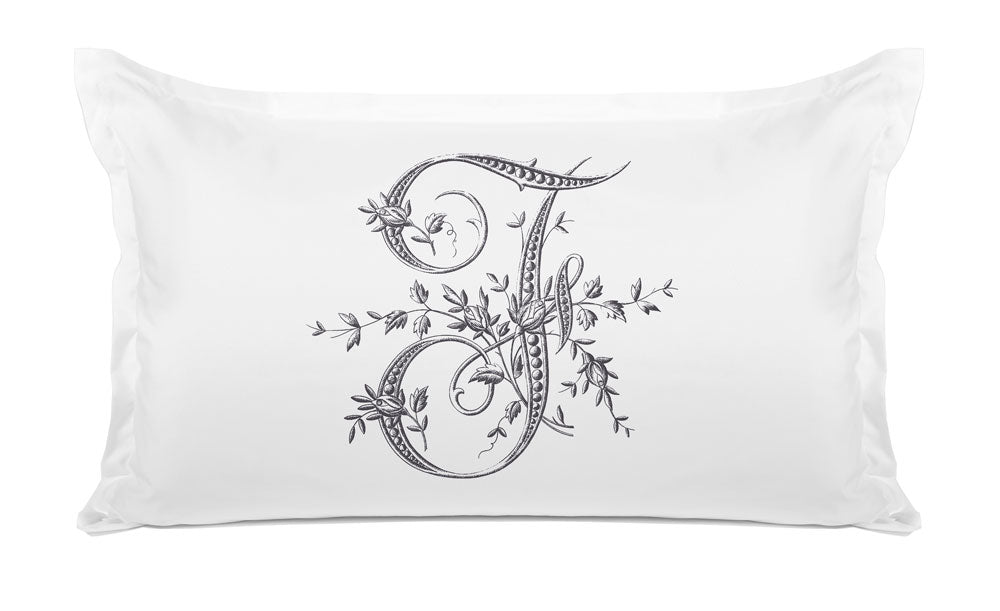 Vintage French Monogram Letter F Pillowcase