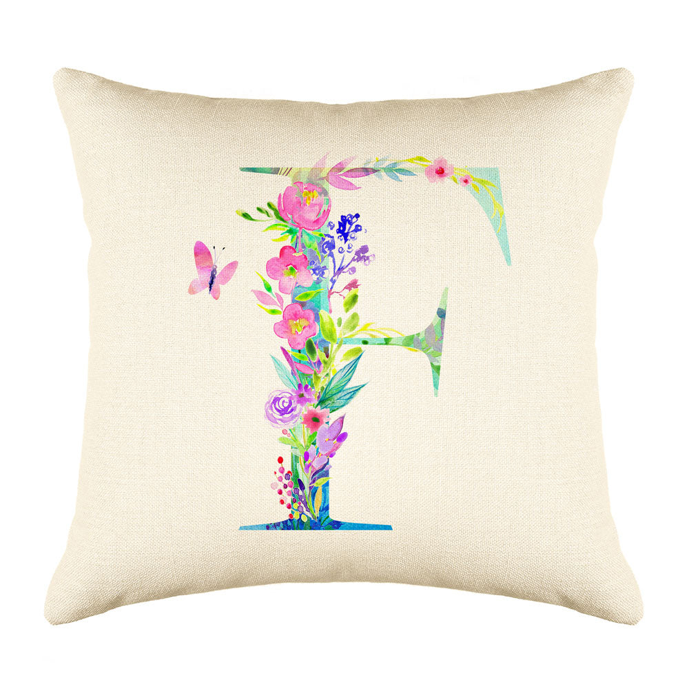 Floral Watercolor Monogram Letter F Throw Pillow Cover
