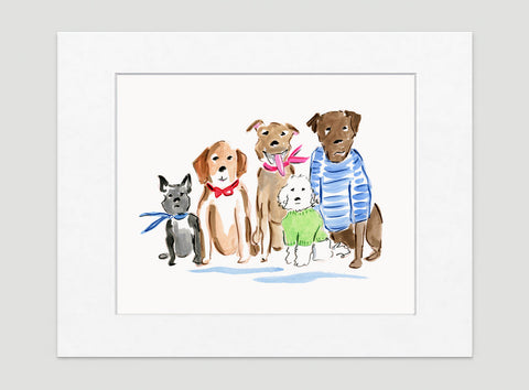 The Rat Pack Art Print - Dog Illustrations Wall Art Collection-Di Lewis
