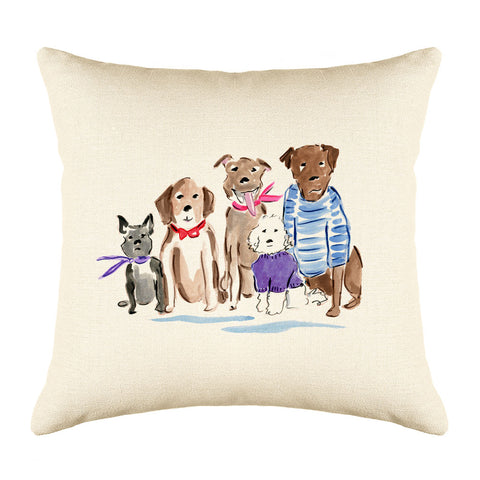 The Rat Pack Throw Pillow Cover - Dog Illustration Throw Pillow Cover Collection-Di Lewis