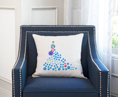 Fashionista Blue Pink Throw Pillow Cover - Fashion Illustrations Throw Pillow Cover Collection-Di Lewis