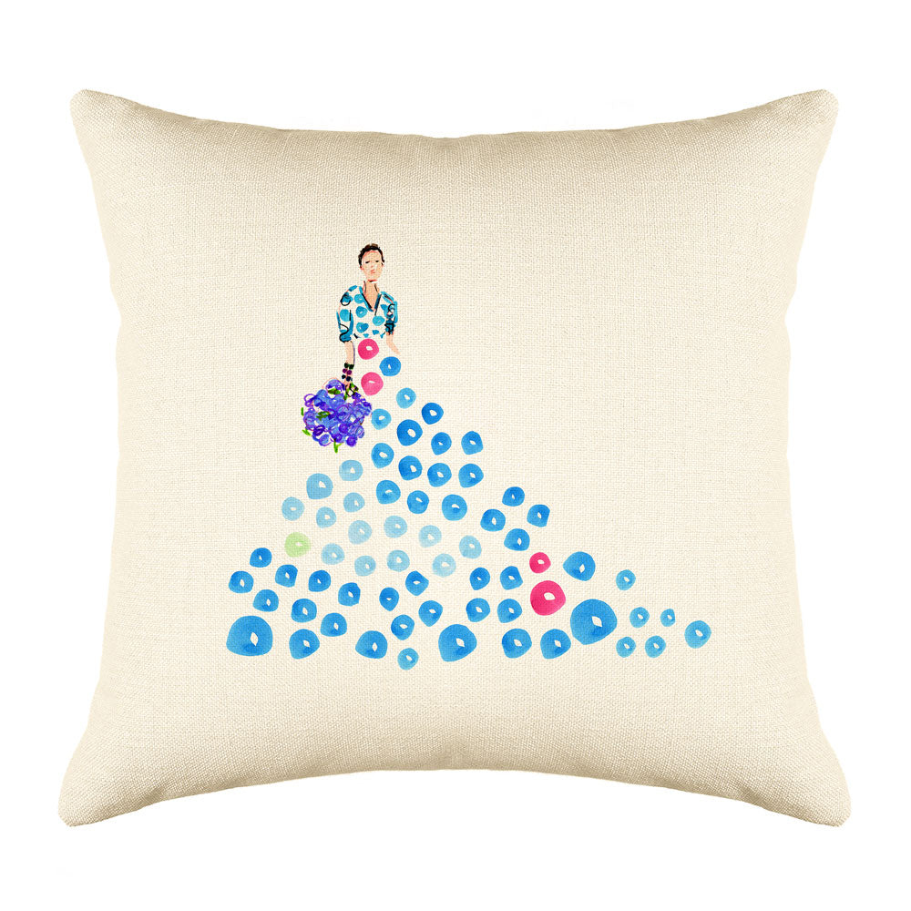 Fashionista Blue Pink Throw Pillow Cover