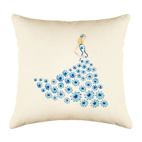 Fashionista Blue Throw Pillow Cover - Fashion Illustrations Throw Pillow Cover Collection-Di Lewis