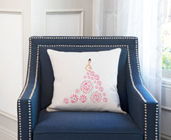Fashionista Pink Blue Throw Pillow Cover - Fashion Illustrations Throw Pillow Cover Collection-Di Lewis