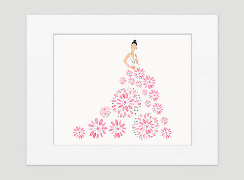 Fashionista Pink Blue Art Print - Fashion Illustration Wall Art Collection-Di Lewis