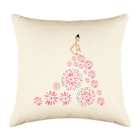 Fashionista Pink Blue Throw Pillow Cover