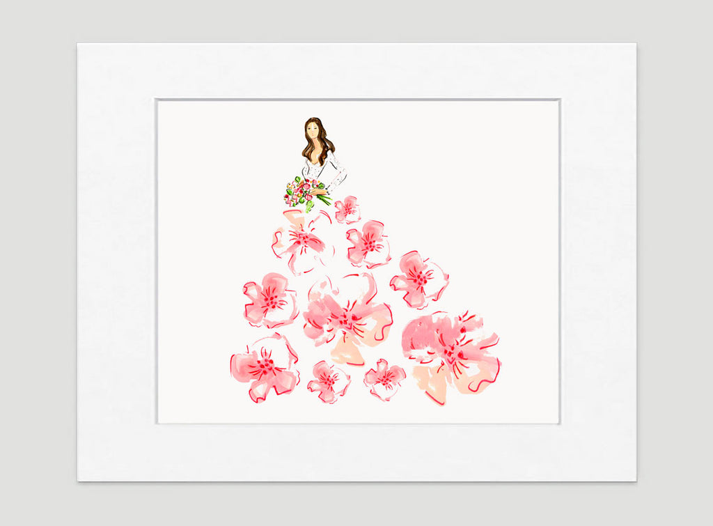 Fashionista Pink Peach Art Print - Fashion Illustration Wall Art Collection-Di Lewis