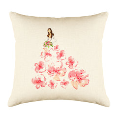 Fashionista Pink Peach Throw Pillow Cover - Fashion Illustrations Throw Pillow Cover Collection-Di Lewis