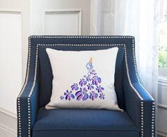 Fashionista Purple Blue Throw Pillow Cover - Fashion Illustrations Throw Pillow Cover Collection-Di Lewis