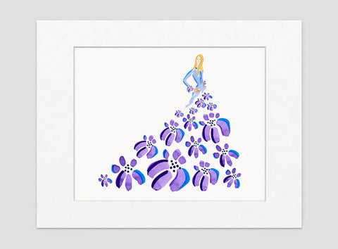 Fashionista Purple Blue Art Print - Fashion Illustration Wall Art Collection-Di Lewis