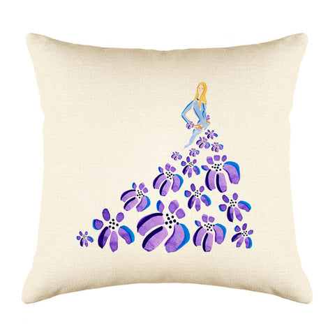 Fashionista Purple Blue Throw Pillow Cover