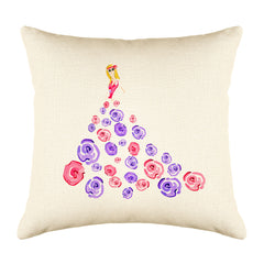 Fashionista Purple Pink Throw Pillow Cover - Fashion Illustrations Throw Pillow Cover Collection-Di Lewis