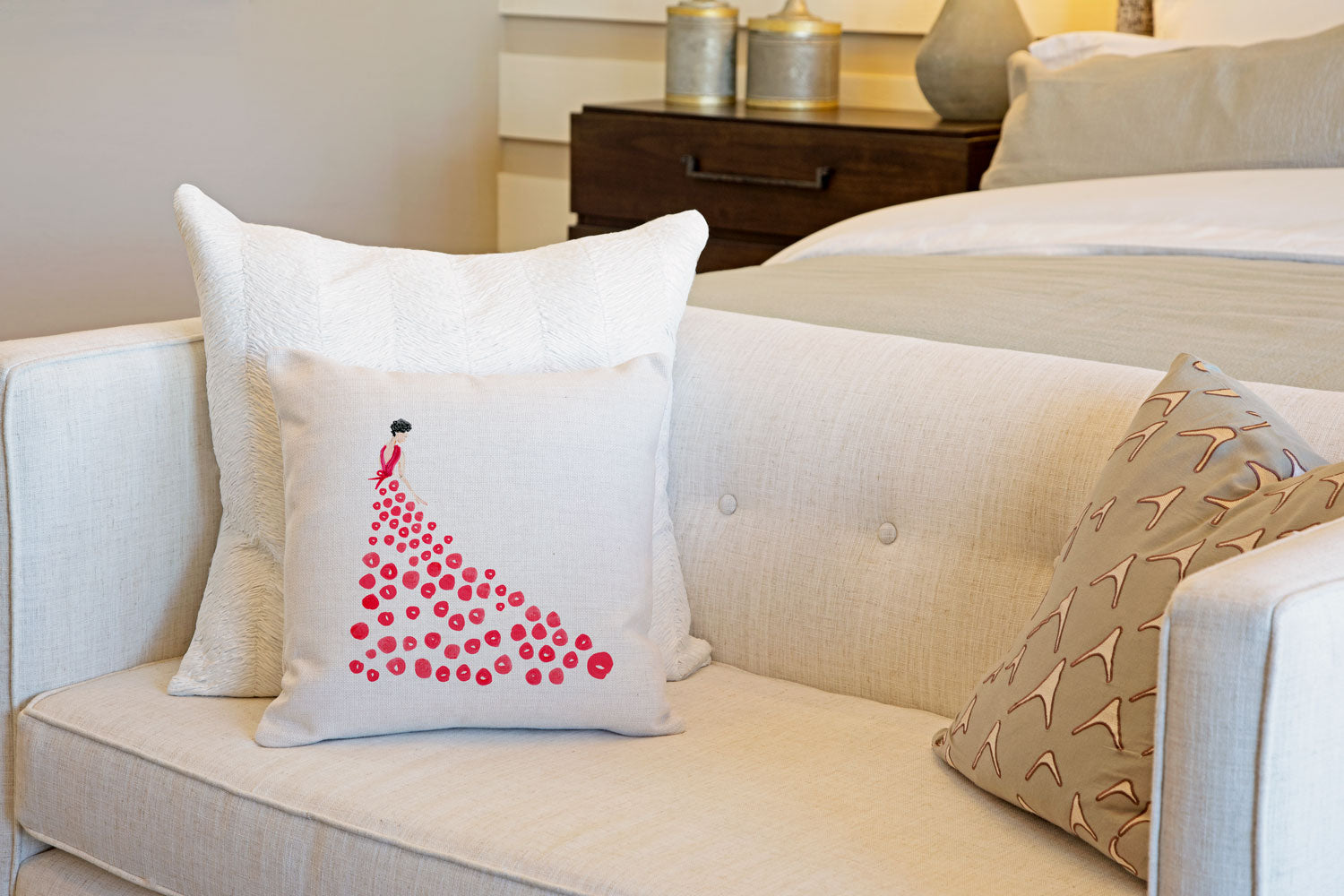Fashionista Red Throw Pillow Cover - Fashion Illustrations Throw Pillow Cover Collection-Di Lewis