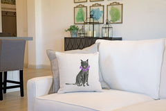 Black Cat Throw Pillow Cover - Cat Illustration Throw Pillow Cover Collection