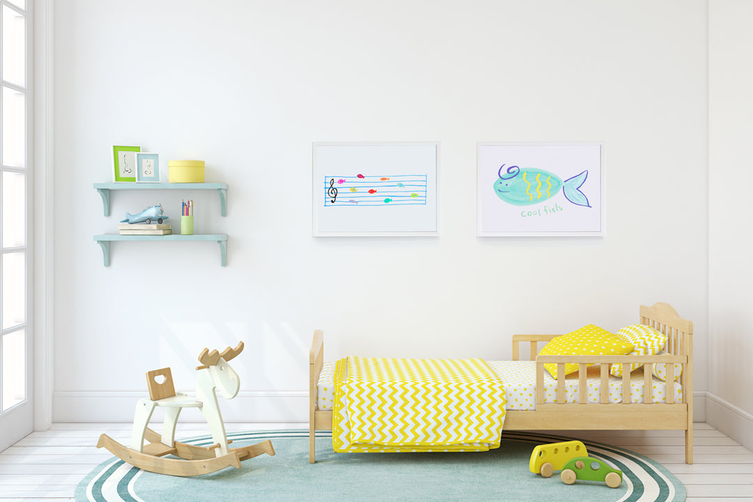 Fish Notes Art Print - Kids Wall Art Collection-Di Lewis