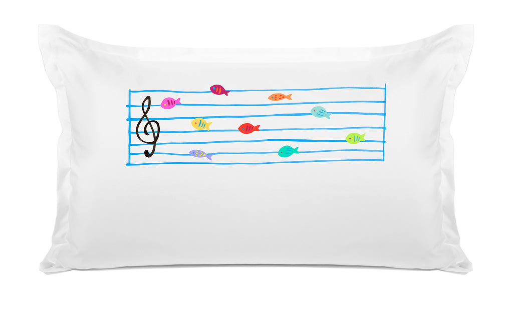 Fish Notes Personalized Kids Pillow case Di Lewis Kids Bedding