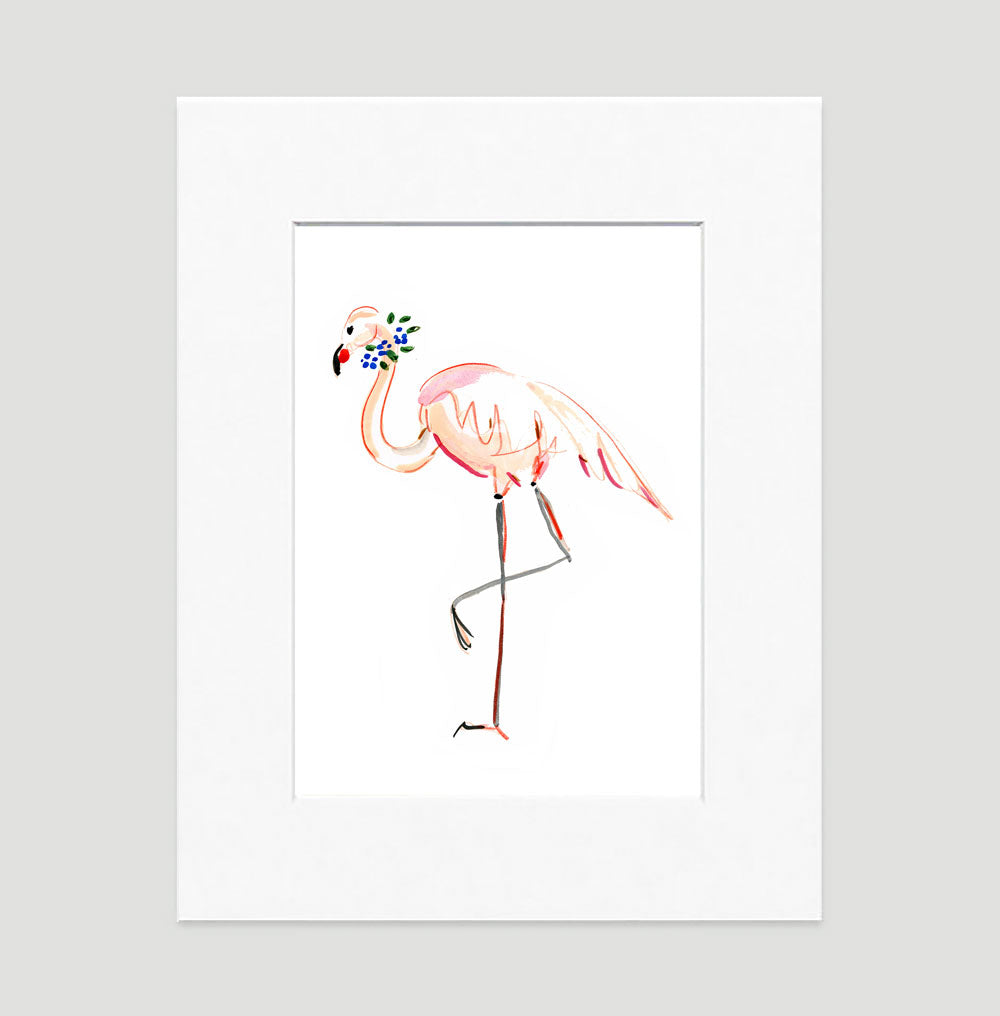 Flora Flamingo Art Print
