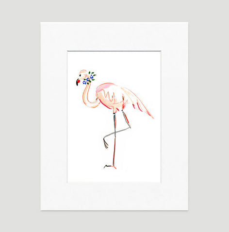 Flora Flamingo Art Print - Animal Illustrations Wall Art Collection-Matted-Di Lewis