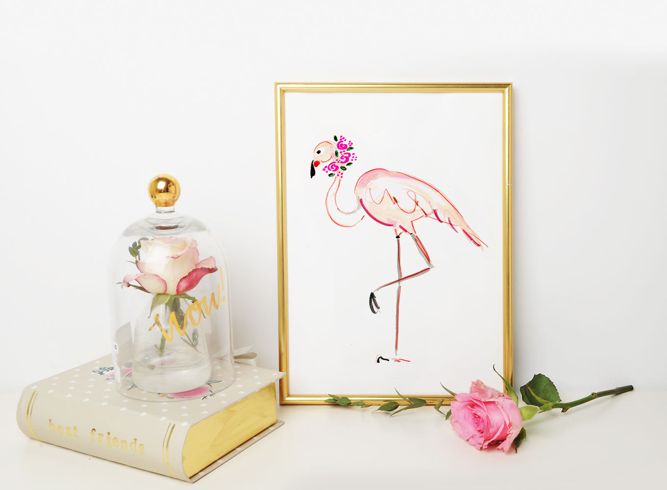 Fannie Flamingo Art Print - Animal Illustrations Wall Art Collection-Di Lewis
