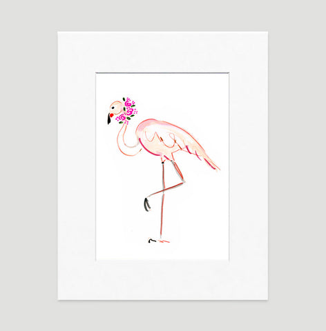 Fannie Flamingo Art Print - Animal Illustrations Wall Art Collection-Matted-Di Lewis
