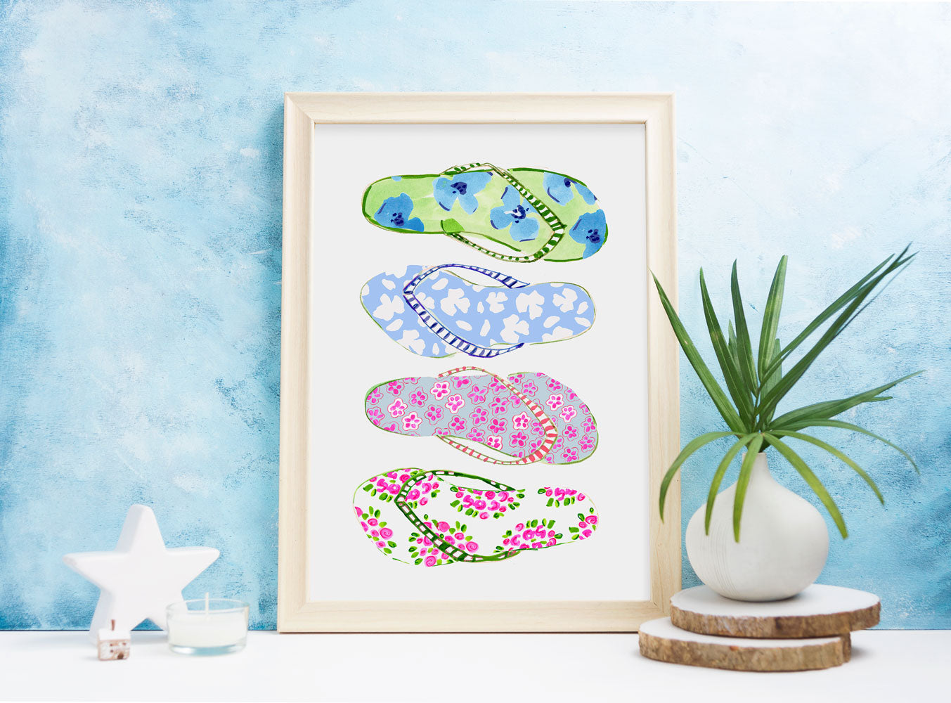 Flip Flops - Fashion Illustration Wall Art Collection-Room Setting-Di Lewis