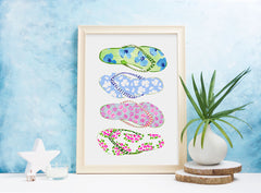 Flip Flops - Fashion Illustration Wall Art Collection-Di Lewis