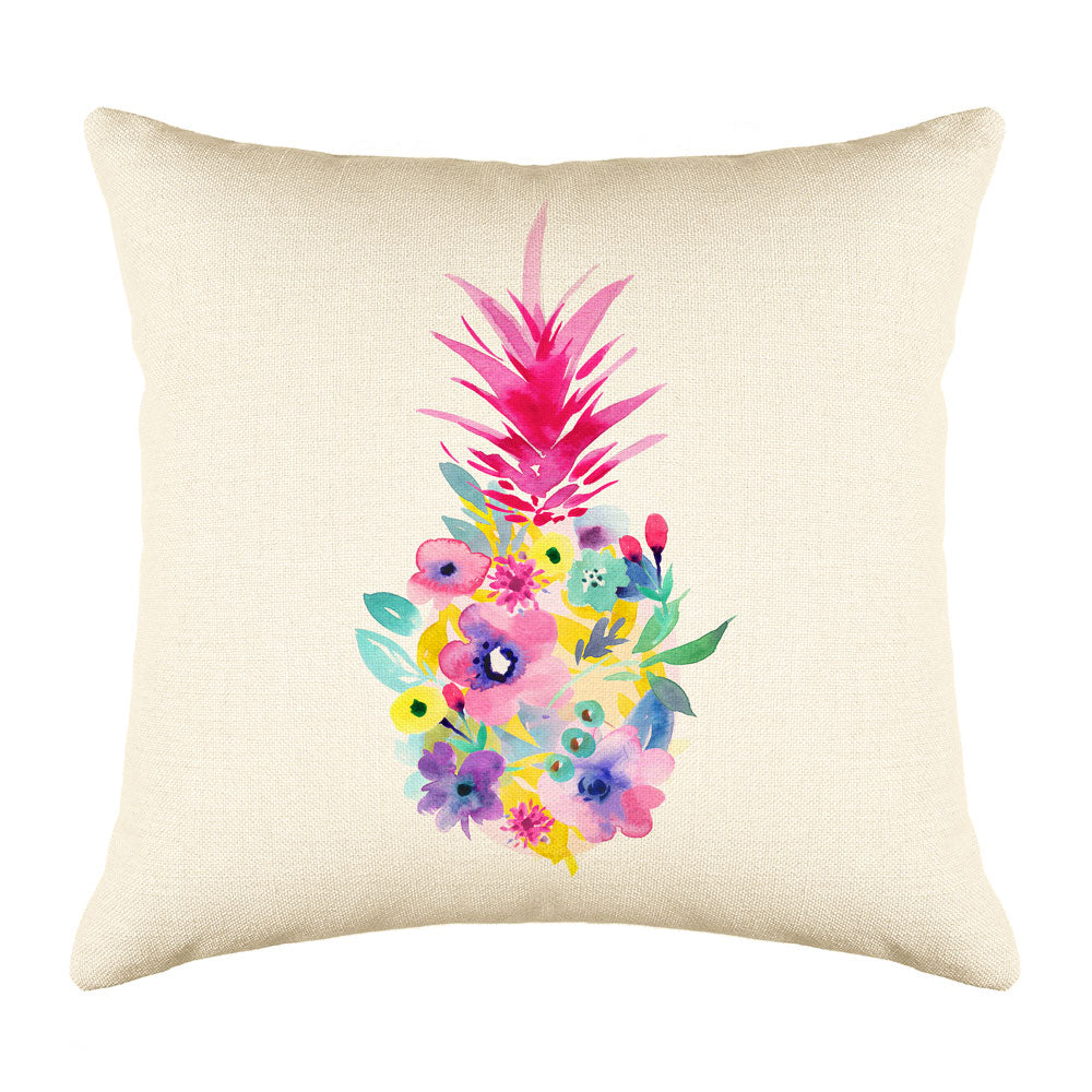 Floral Pineapple Throw Pillow Cover - Coastal Designs Throw Pillow Cover Collection-Di Lewis