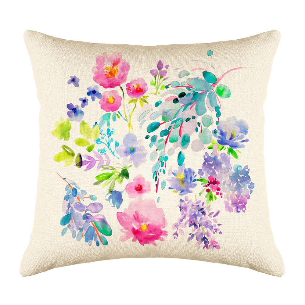 Flower Garden Throw Pillow Cover - Decorative Designs Throw Pillow Cover Collection