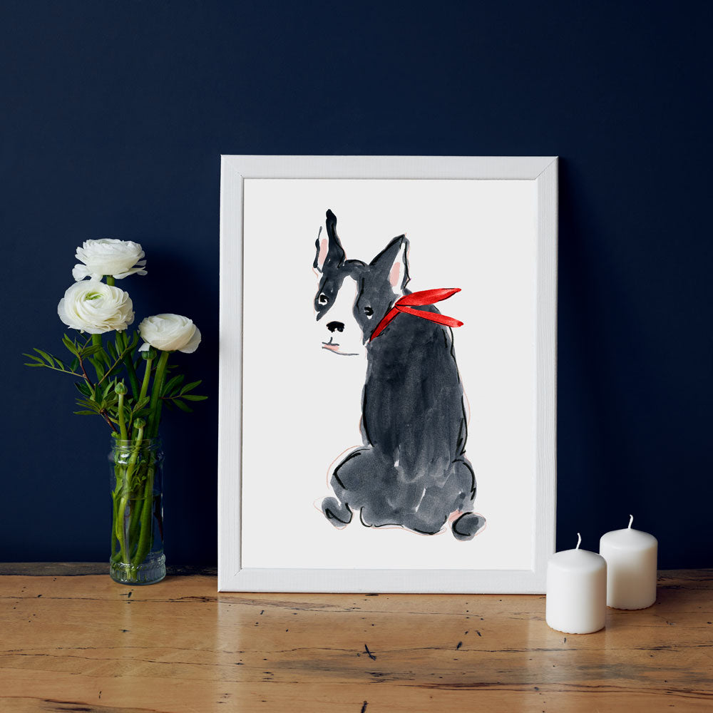 Bailey Bulldog Art Print - Dog Illustrations Wall Art Collection-Di Lewis