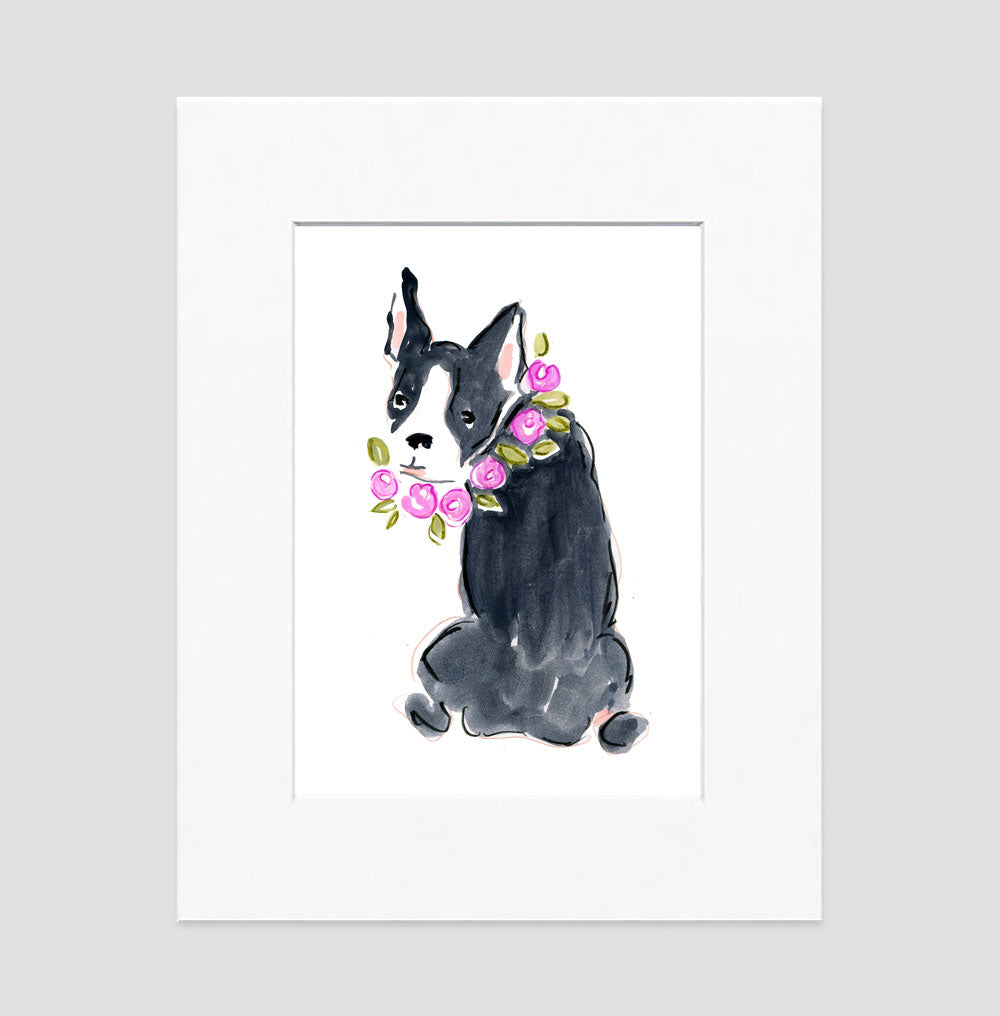 Babette Bulldog Art Print - Dog Illustrations Wall Art Collection-Di Lewis
