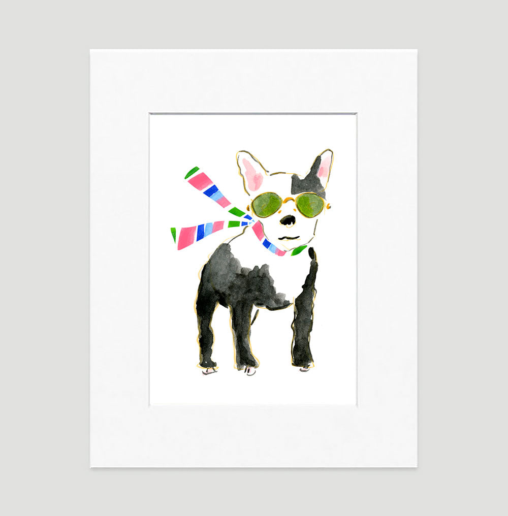 Francois French Bulldog Art Print - Dog Illustrations Wall Art Collection-Matted-Di Lewis