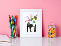 Francois French Bulldog Art Print - Dog Illustrations Wall Art Collection-Room Setting-Di Lewis