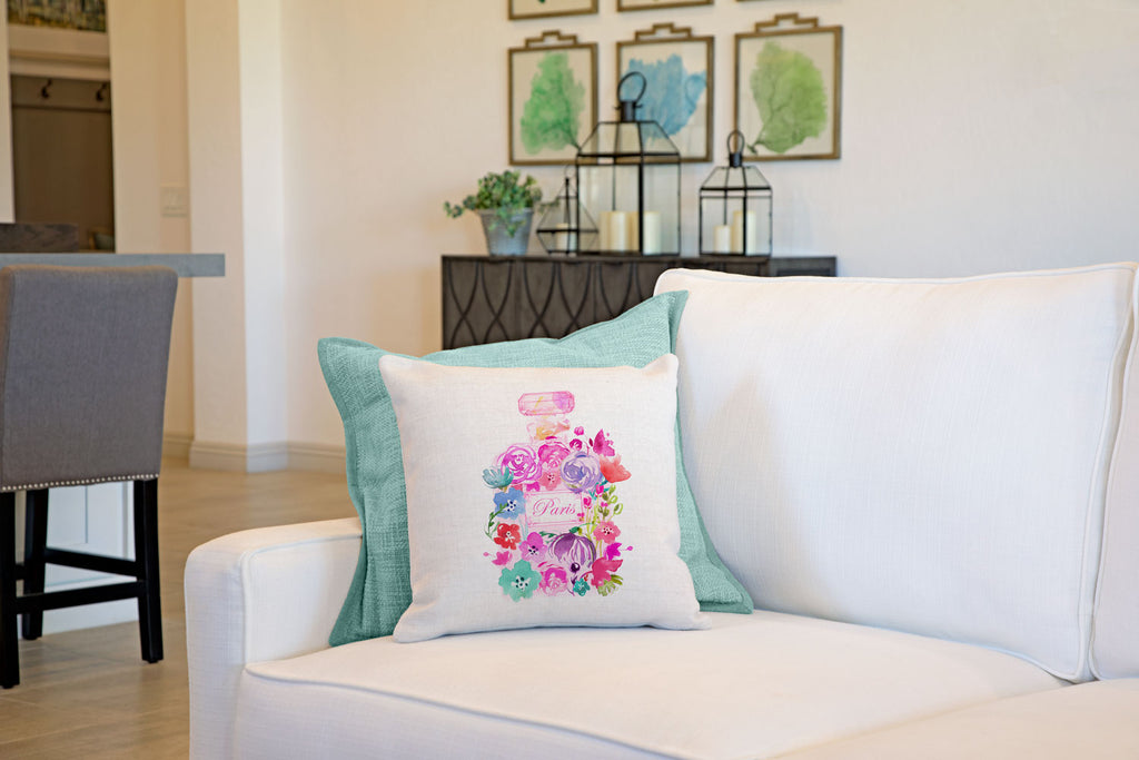 French Floral Perfume Bottle Throw Pillow Cover Di Lewis