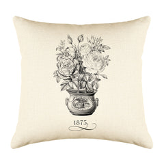 Vintage French Flower Pot 1875 Throw Pillow Cushion Cover