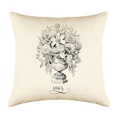 Vintage French Flowers 1863 Throw Pillow Cushion Cover