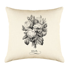 Vintage French Rose Bouquet 1849 Throw Pillow Cushion Cover