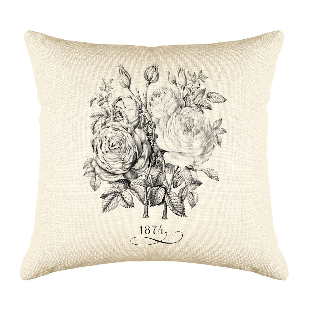 Vintage French Roses 1874 Throw Pillow Cushion Cover