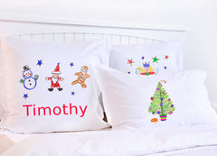 Snowman, Santa, Gingerbread Man - Kids Personalized Pillowcase Collection